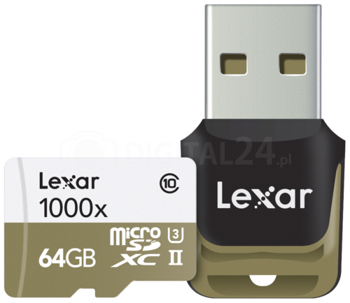 Karta pamięci Lexar microSDHC 1000x 64GB UHS-II + czytnik USB 3.0