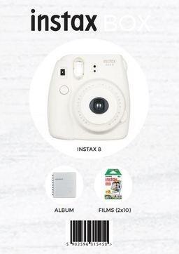 Fujifilm INSTAX 8 BOX Biały- aparat, 2 wkłady, futerał