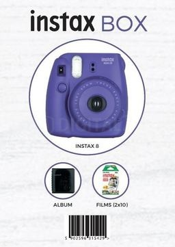 Fujifilm INSTAX 8 BOX Fioletowy - aparat, 2 wkłady, futerał