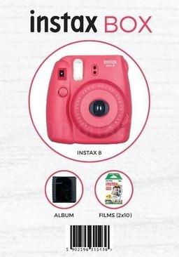 Fujifilm INSTAX 8 BOX Malinowy - aparat, 2 wkłady, futerał